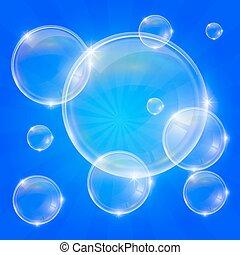de bellen van de zeep, op, een, blauwe achtergrond