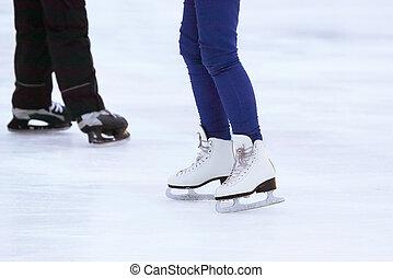 de, benen, van, een, man, skating, op, een, koel rink