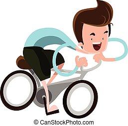 de berijdende fiets van de jongen