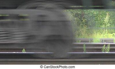 de, beweging, van, treinen