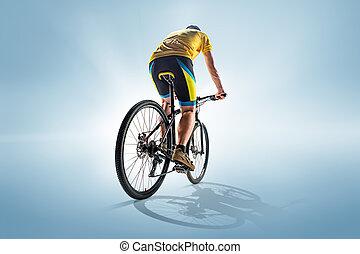 de, bicyclist, op, grijs, studio, schot.
