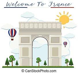 de, bienvenida, arco, triunfo, francia