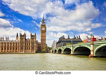 de big ben, en, huizen van het parlement, londen