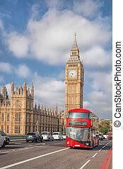 de big ben, met, rood, bus, in, londen, engeland, uk
