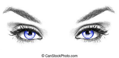 de, blauwe ogen