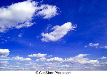 de, blauwe , sky.