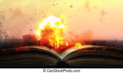 de, boek, van, de, war., boek, geschreven, door, bloed