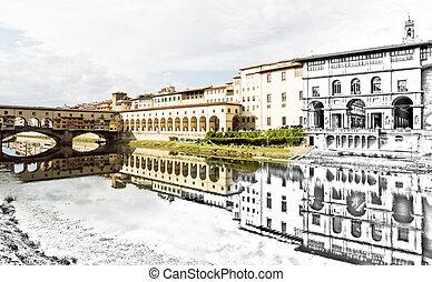de, bosquejo, a, el, florencia, ciudad, -, hermoso, ponte vecchio, vasari, pasillo, y, galería de uffizi, ser, reflejado, en, el, río arno, italia
