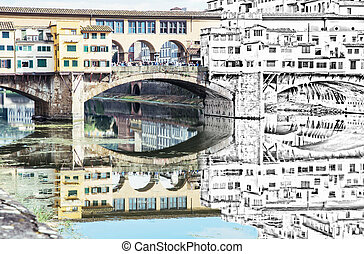 de, bosquejo, a, el, ponte vecchio, puente, es, reflejado, en, el, río arno, florencia, italia