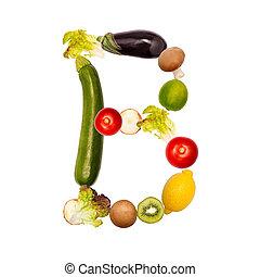 de brief b, in, gevarieerd, fruit en groenten