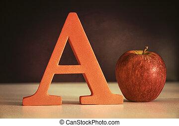 de brief een, met, een, appel, op, tafel