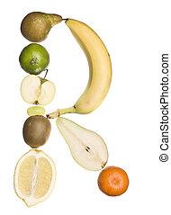 de, brief, 'r', gemaakt, uit, van, fruit