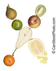 de, brief, 'x', gemaakt, uit, van, fruit