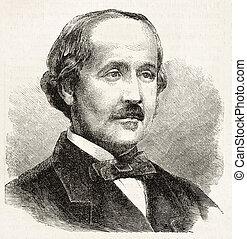 De Broglie - Albert de Broglie old engraved portrait (French...