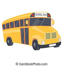 de bus van de school, illustratie, spotprent, gele, style.