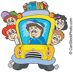 de bus van de school, met, kinderen