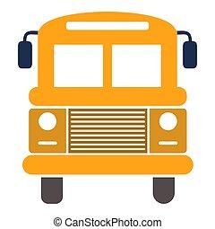 de bus van de school, vrijstaand, symbool., illustratie, vector, voertuig