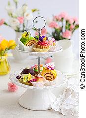de cakes van de thee, namiddag
