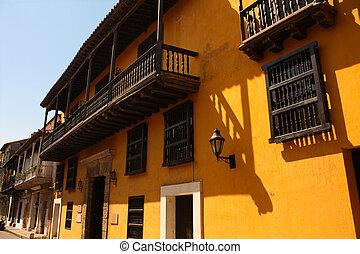de, calle, cartagena, colombia, indias