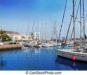 De,  Canaria, Puerto deportivo,  gran, barcos,  Puerto,  mogan