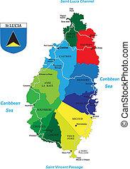 de caraïben, lucia, eiland, heilige, kaart