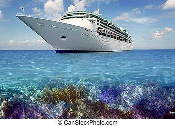 de caraïben, rif, aanzicht, met, cuise, vakantie, scheepje