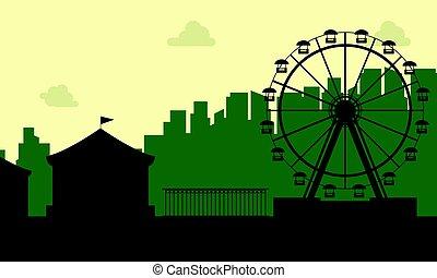 de, carnaval, funfair, landschap, silhouette