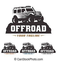 de, coche, off-road, offroad, suv, logotipo, logotipo, camino, plantilla