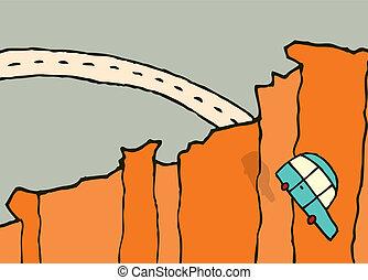 de, coche, /, saltar, caer, acantilado
