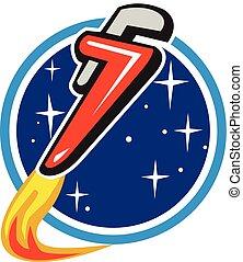de, cohete, espacio, voladura, órbita, llave de la pipa, círculo, retro