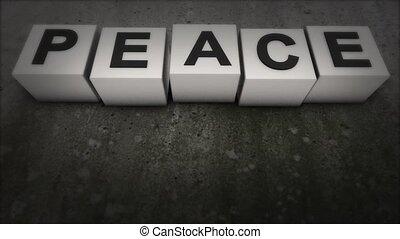 de, concept, van, de, woord, world., wat, europees konijn, de, woord, peace., vrede
