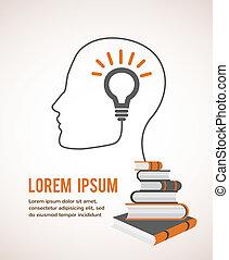 de, concept, van, moderne, education., infographic, mal, met, profiel, hoofd, lightbulb, en, boekjes