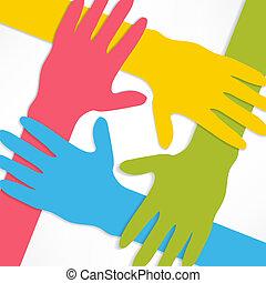 de conexión, manos
