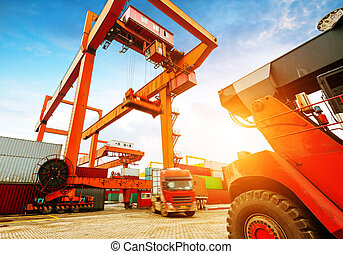 de, container terminal, op, schemering