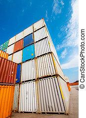 de container van de lading, op, een, opslag, bouwterrein