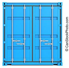 de container van de lading, voorkant, closed.
