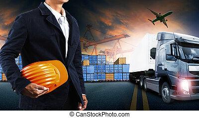de container van de lading, vracht, zakelijk, industrie, commercieel, import-export, schaaf, vrachtwagen, logistiek, porto, vervoeren