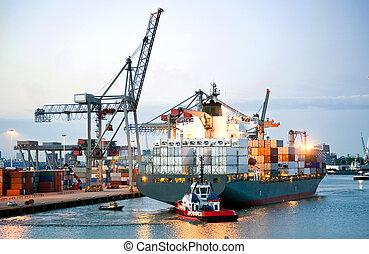 de container van het schip, manouvering