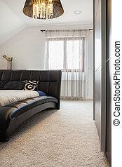 de, cozy, slaapkamer, in, een, herenhuis