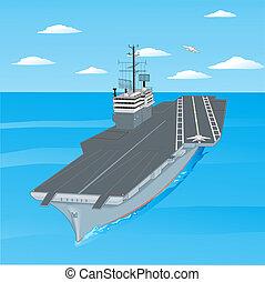 de, cubierta, toma, portaaviones, ocean., aviones