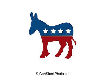 de, democratisch, ezel