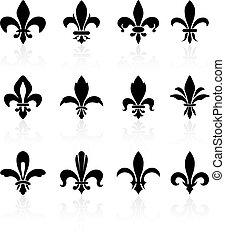 de, design, fleur, sammlung, lis