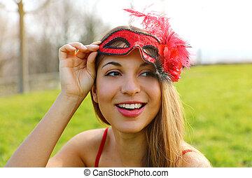 de, despertar, después, mujer, carnaval, ella, toma, joven, ...