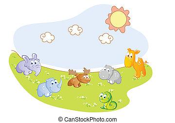 de dieren van de baby, in de tuin