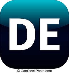 DE domain icon, Germany, Deutchland, blue, international