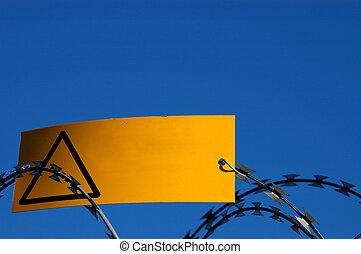 de draad van het scheermes, enig, geel teken, waarschuwend, leeg
