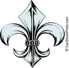 de, emblema, protector, fleur, lis