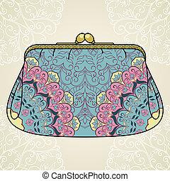 de encaje, purse., elegante