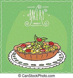 de encaje, servilleta, tartlet de la manzana, bayas