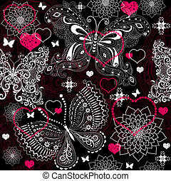 de encaje, valentine, seamless, patrón